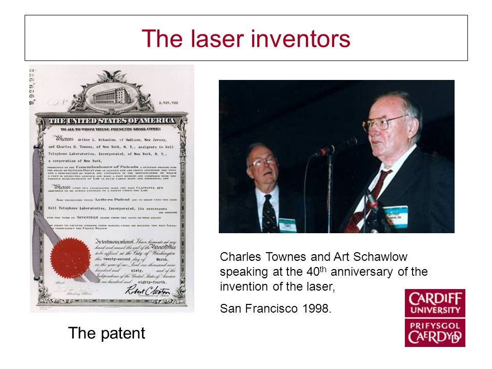 The laser inventors Charles Townes and Art Schawlow speaking at the 40 th anniversary of the invention of the laser, San Francisco 1998.