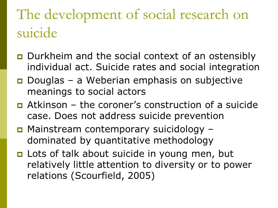 The development of social research on suicide Durkheim and the social context of an ostensibly individual act.