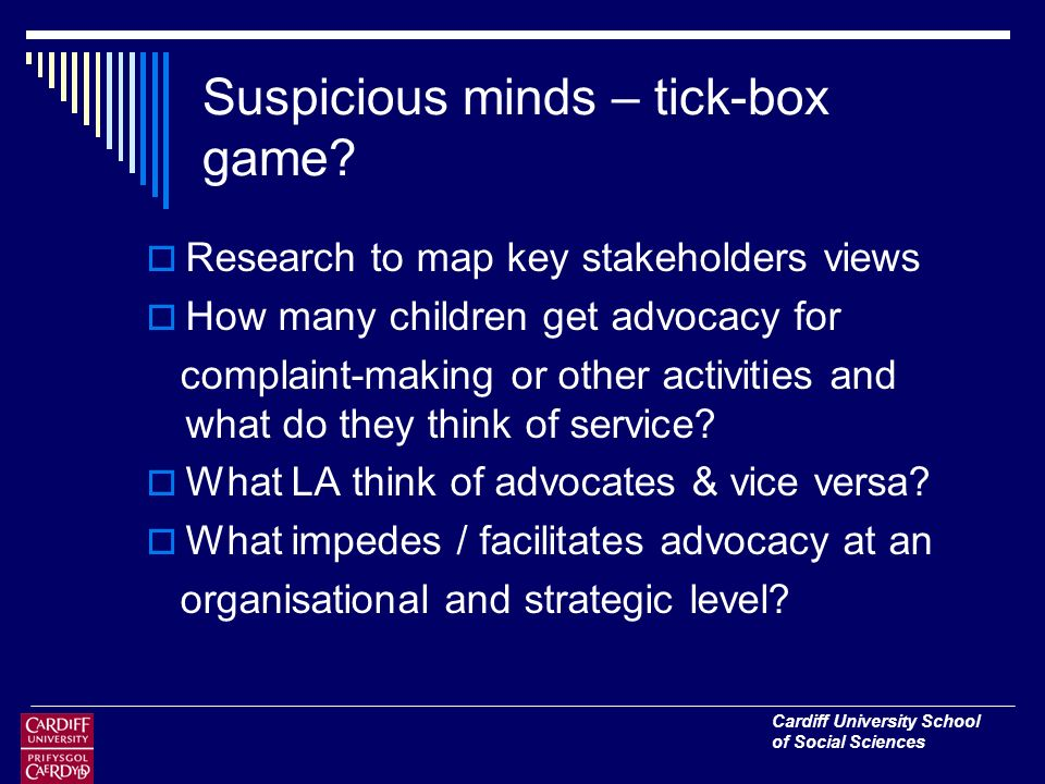 Cardiff University School of Social Sciences Suspicious minds – tick-box game.