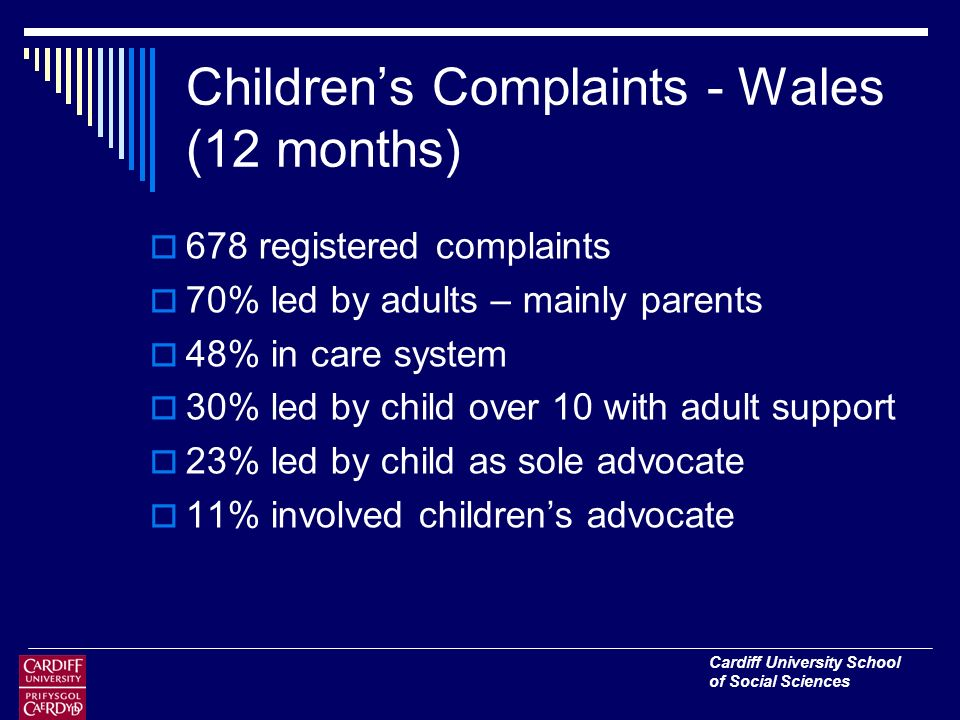 Cardiff University School of Social Sciences Childrens Complaints - Wales (12 months) 678 registered complaints 70% led by adults – mainly parents 48% in care system 30% led by child over 10 with adult support 23% led by child as sole advocate 11% involved childrens advocate