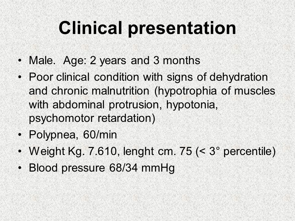Clinical presentation Male.