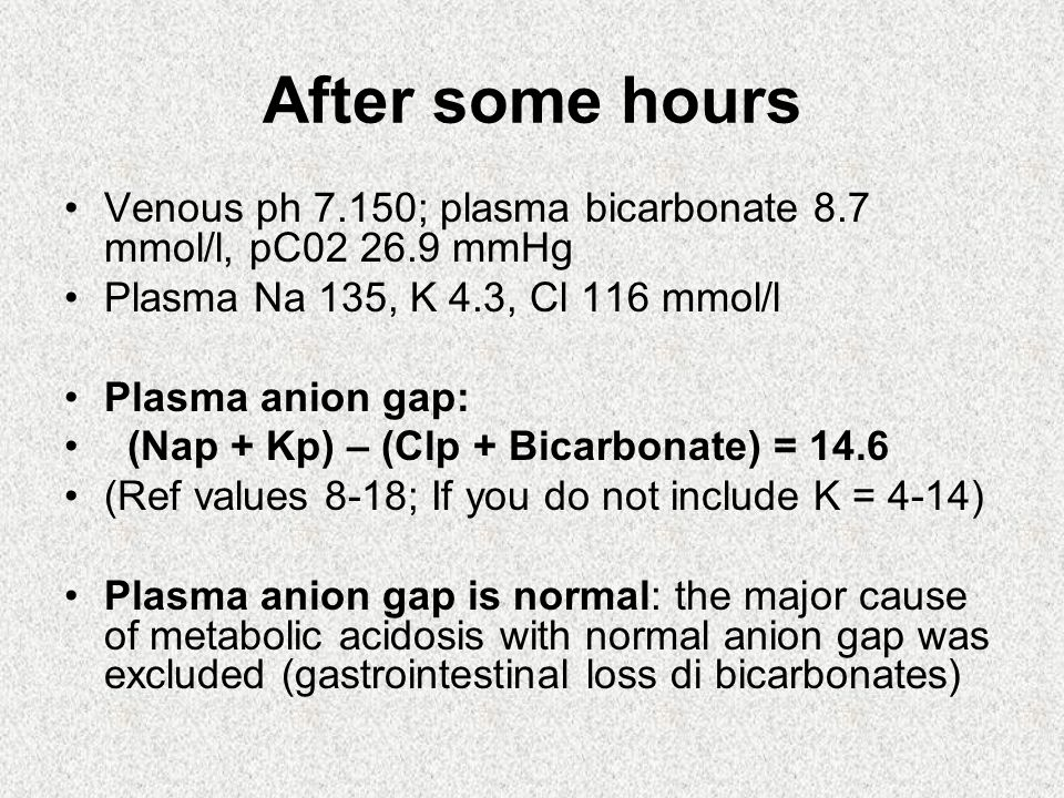 After some hours Venous ph 7.150; plasma bicarbonate 8.7 mmol/l, pC02 26.9 mmHg Plasma Na 135, K 4.3, Cl 116 mmol/l Plasma anion gap: (Nap + Kp) – (Clp + Bicarbonate) = 14.6 (Ref values 8-18; If you do not include K = 4-14) Plasma anion gap is normal: the major cause of metabolic acidosis with normal anion gap was excluded (gastrointestinal loss di bicarbonates)