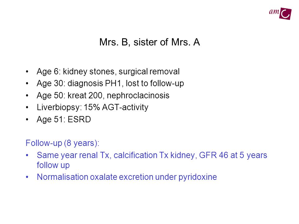 Mrs. B, sister of Mrs. A Age 6: kidney stones, surgical removal Age 30: diagnosis PH1, lost to follow-up Age 50: kreat 200, nephroclacinosis Liverbiop