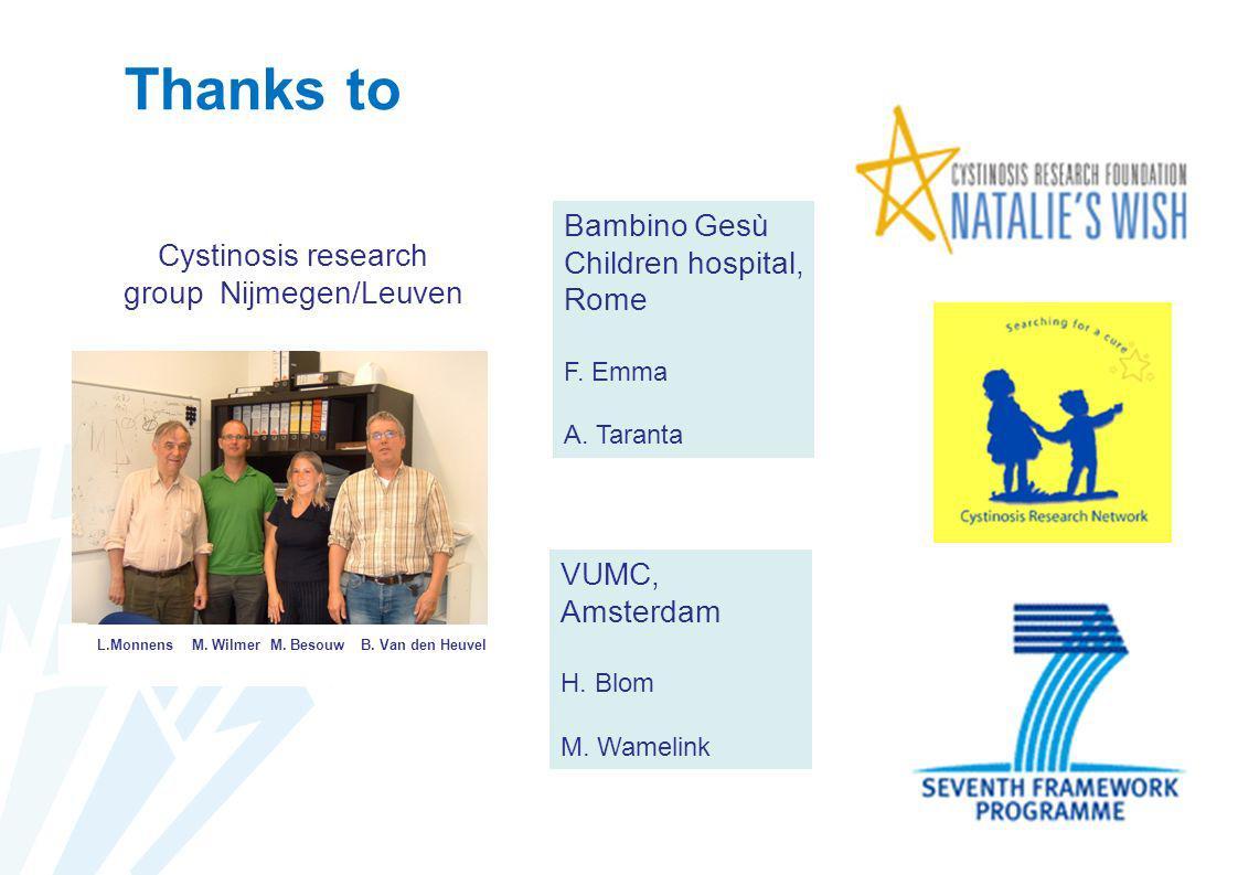 Thanks to Cystinosis research group Nijmegen/Leuven L.MonnensM. WilmerM. BesouwB. Van den Heuvel Bambino Gesù Children hospital, Rome F. Emma A. Taran