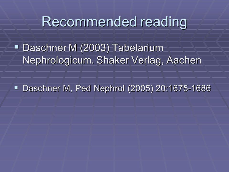 Recommended reading Daschner M (2003) Tabelarium Nephrologicum.