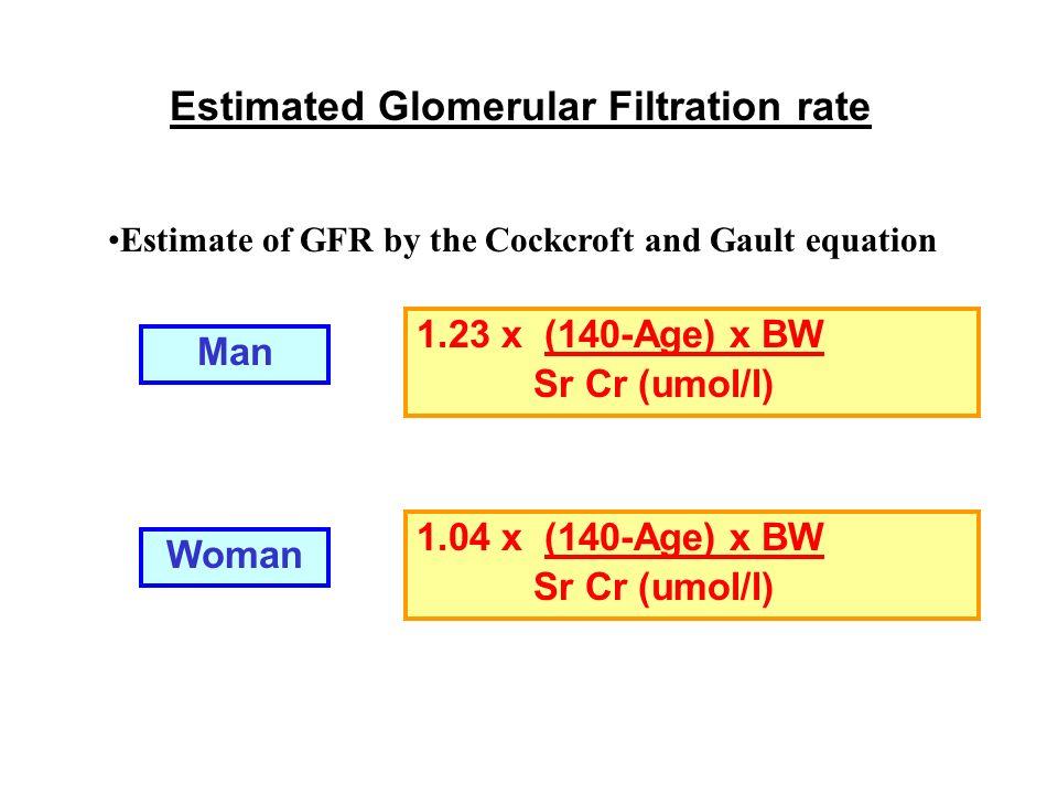 Estimated Glomerular Filtration rate MDRD eGFR (mL/min/1.73m 2 )= 186 x [SerumCreatinine(umol/L) x 0.0113] -1.154 x Age(years) -0.203 (x 0.742 if female)