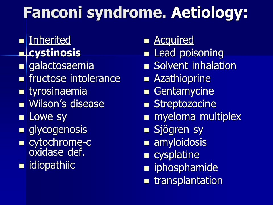 Fanconi syndrome.