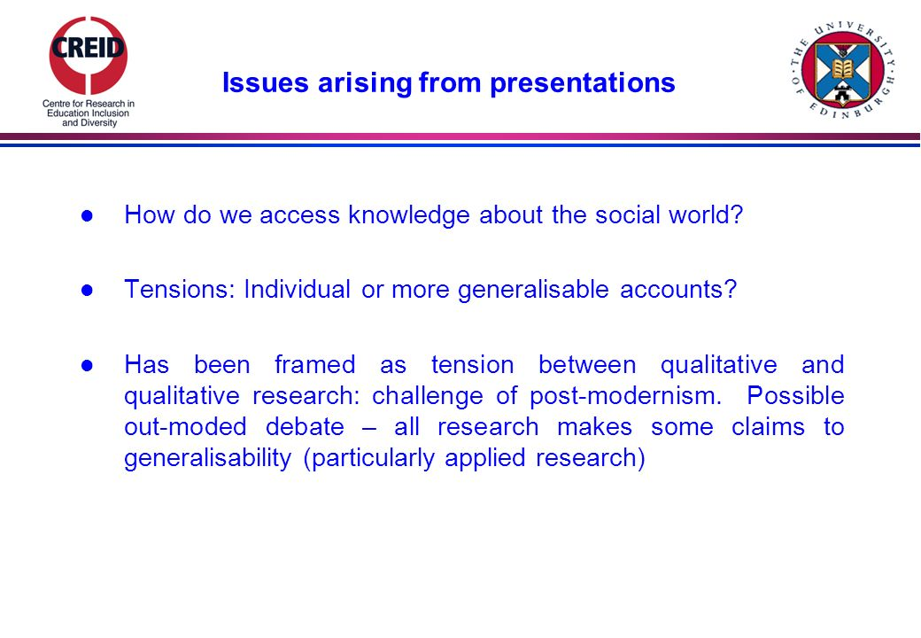 Issues arising from presentations l How do we access knowledge about the social world.