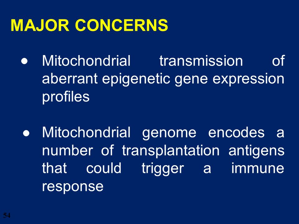 54 Mitochondrial transmission of aberrant epigenetic gene expression profiles Mitochondrial genome encodes a number of transplantation antigens that c