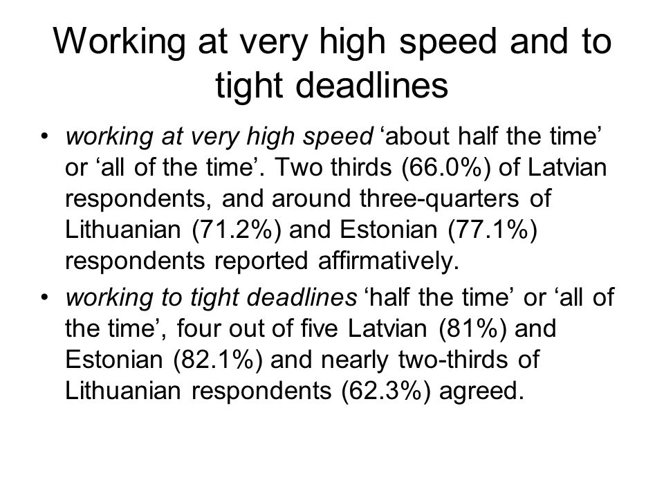 Working at very high speed and to tight deadlines working at very high speed about half the time or all of the time.