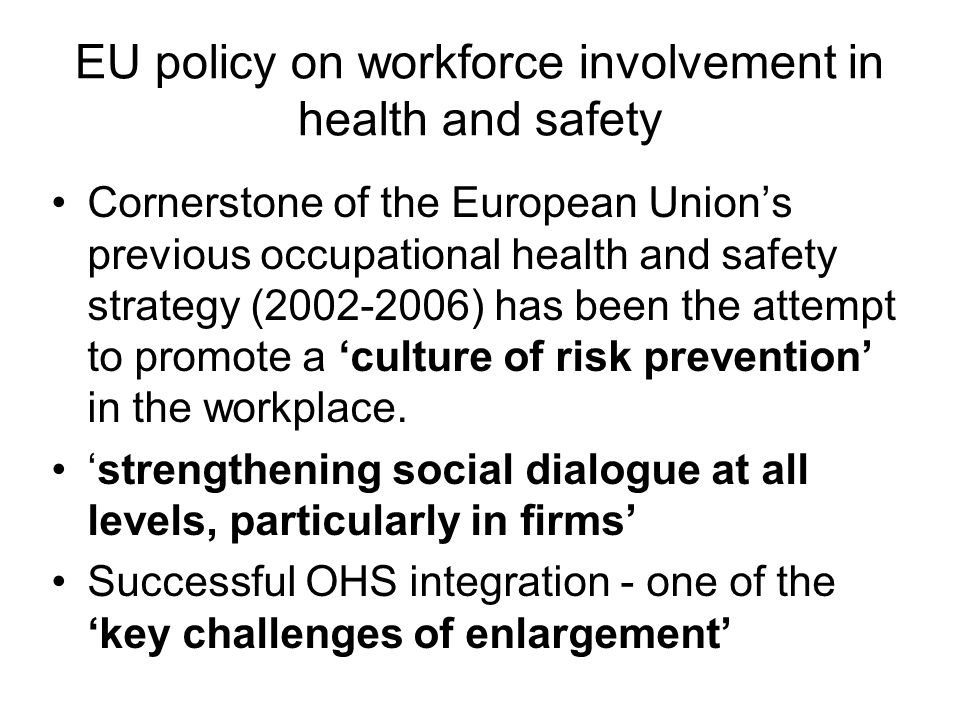EU policy on workforce involvement in health and safety Cornerstone of the European Unions previous occupational health and safety strategy (2002-2006) has been the attempt to promote a culture of risk prevention in the workplace.