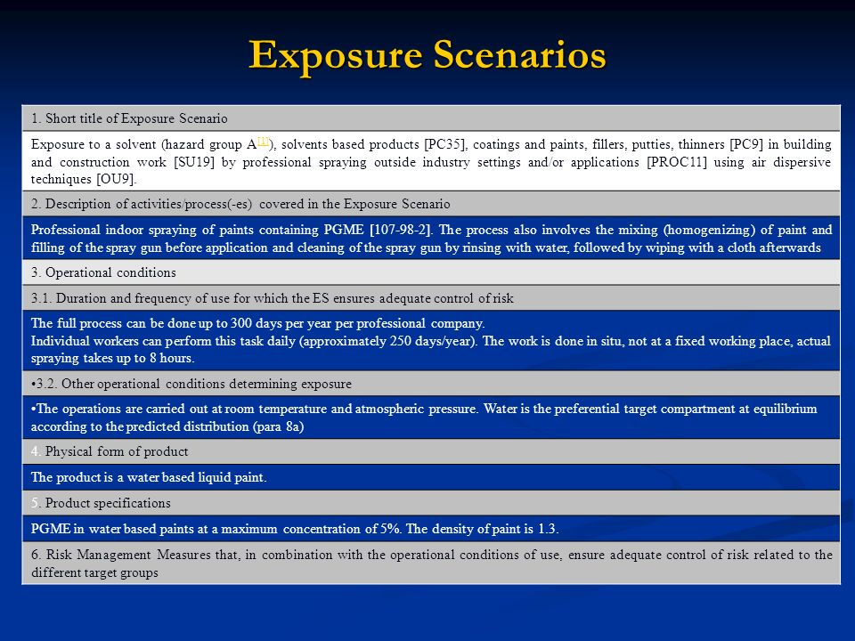 Exposure Scenarios 1.