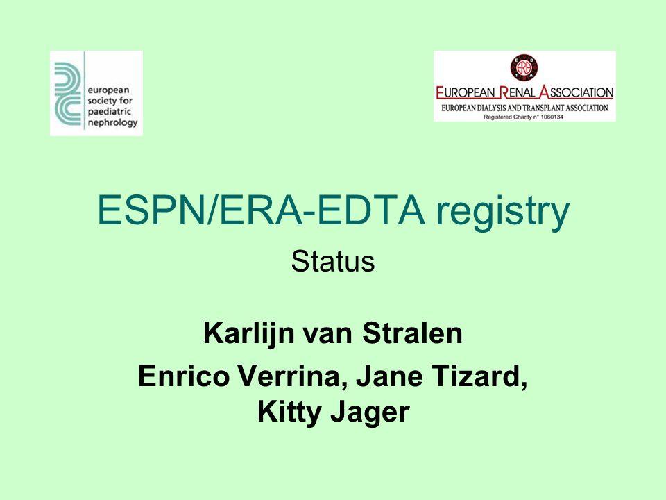 ESPN/ERA-EDTA registry Karlijn van Stralen Enrico Verrina, Jane Tizard, Kitty Jager Status