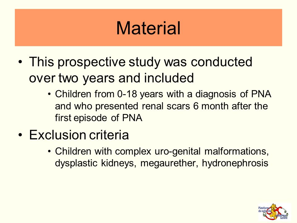 Material This prospective study was conducted over two years and included Children from 0-18 years with a diagnosis of PNA and who presented renal sca