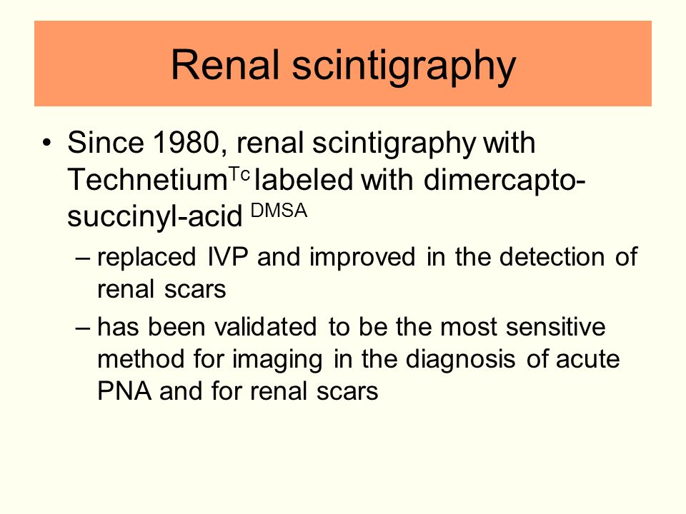 Renal scintigraphy Since 1980, renal scintigraphy with Technetium Tc labeled with dimercapto- succinyl-acid DMSA –replaced IVP and improved in the det