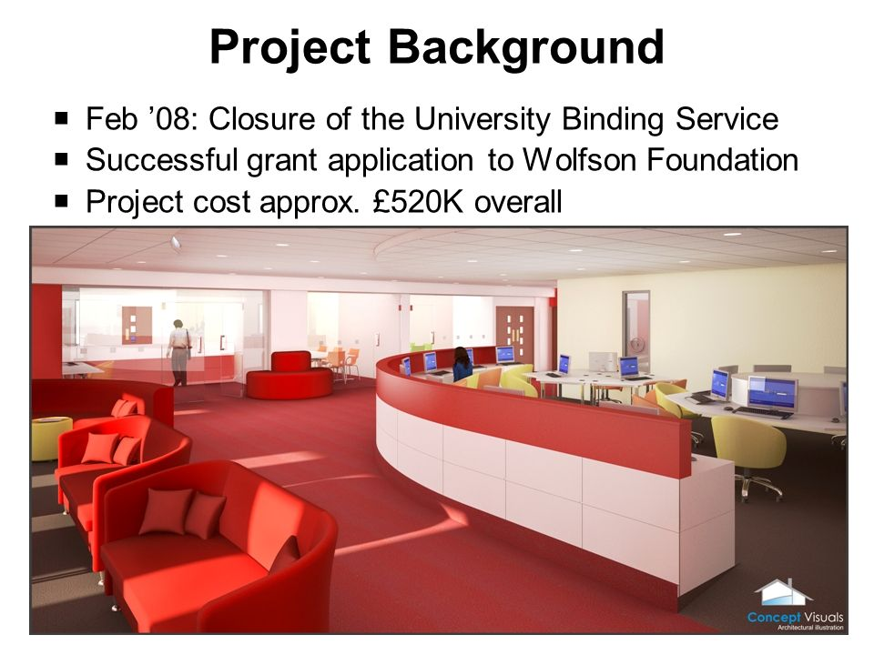 Project Background Feb 08: Closure of the University Binding Service Successful grant application to Wolfson Foundation Project cost approx.