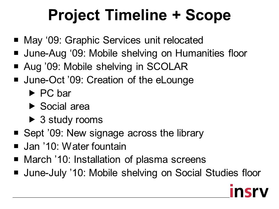 Project Timeline + Scope May 09: Graphic Services unit relocated June-Aug 09: Mobile shelving on Humanities floor Aug 09: Mobile shelving in SCOLAR June-Oct 09: Creation of the eLounge PC bar Social area 3 study rooms Sept 09: New signage across the library Jan 10: Water fountain March 10: Installation of plasma screens June-July 10: Mobile shelving on Social Studies floor