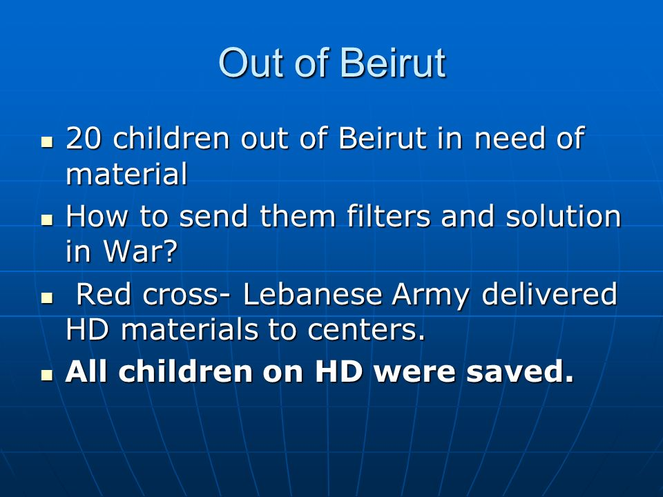 Out of Beirut 20 children out of Beirut in need of material 20 children out of Beirut in need of material How to send them filters and solution in War.