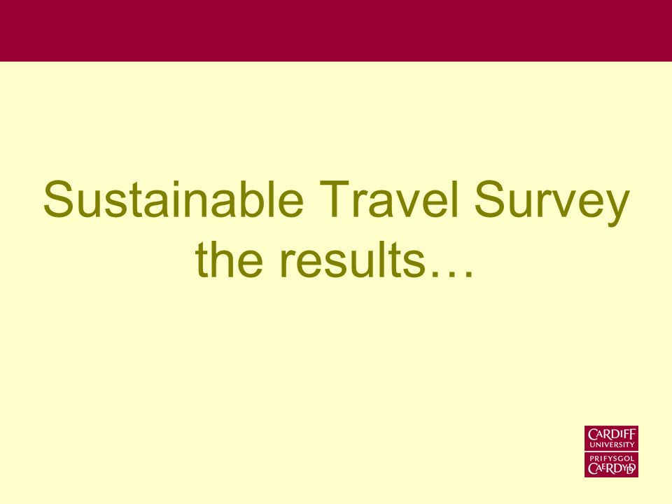 Travel survey We received 3,161 responses –44% Staff –43% Undergraduates –13% Postgraduates