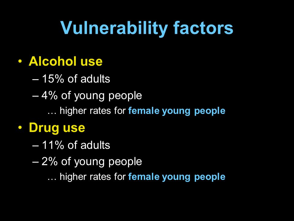 Vulnerability factors Alcohol use –15% of adults –4% of young people … higher rates for female young people Drug use –11% of adults –2% of young people … higher rates for female young people