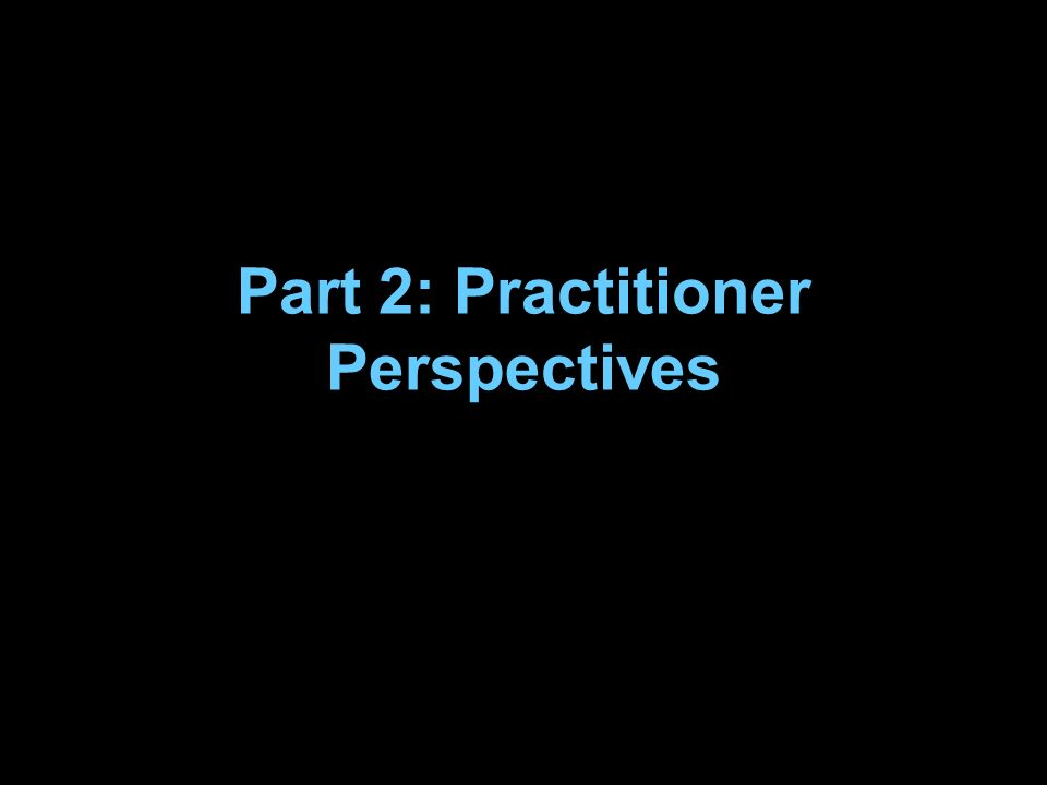 Part 2: Practitioner Perspectives