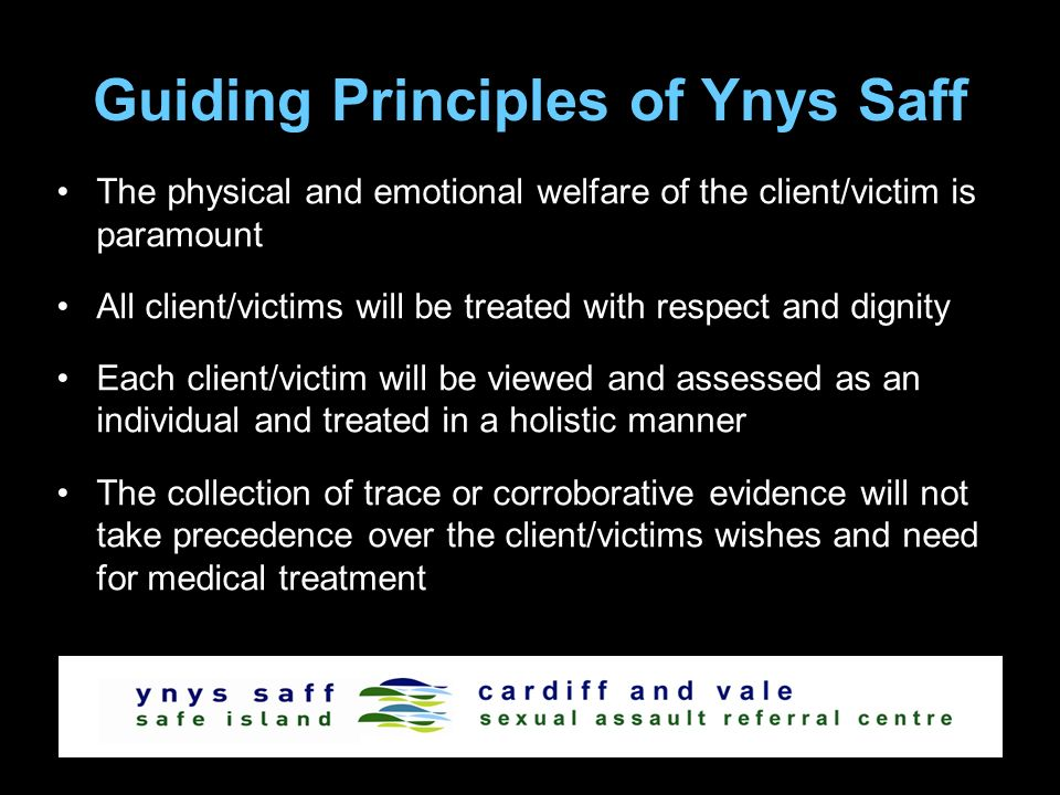 Guiding Principles of Ynys Saff The physical and emotional welfare of the client/victim is paramount All client/victims will be treated with respect a