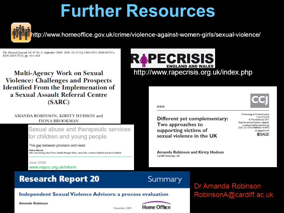 Further Resources http://www.rapecrisis.org.uk/index.php http://www.homeoffice.gov.uk/crime/violence-against-women-girls/sexual-violence/ Dr Amanda Ro