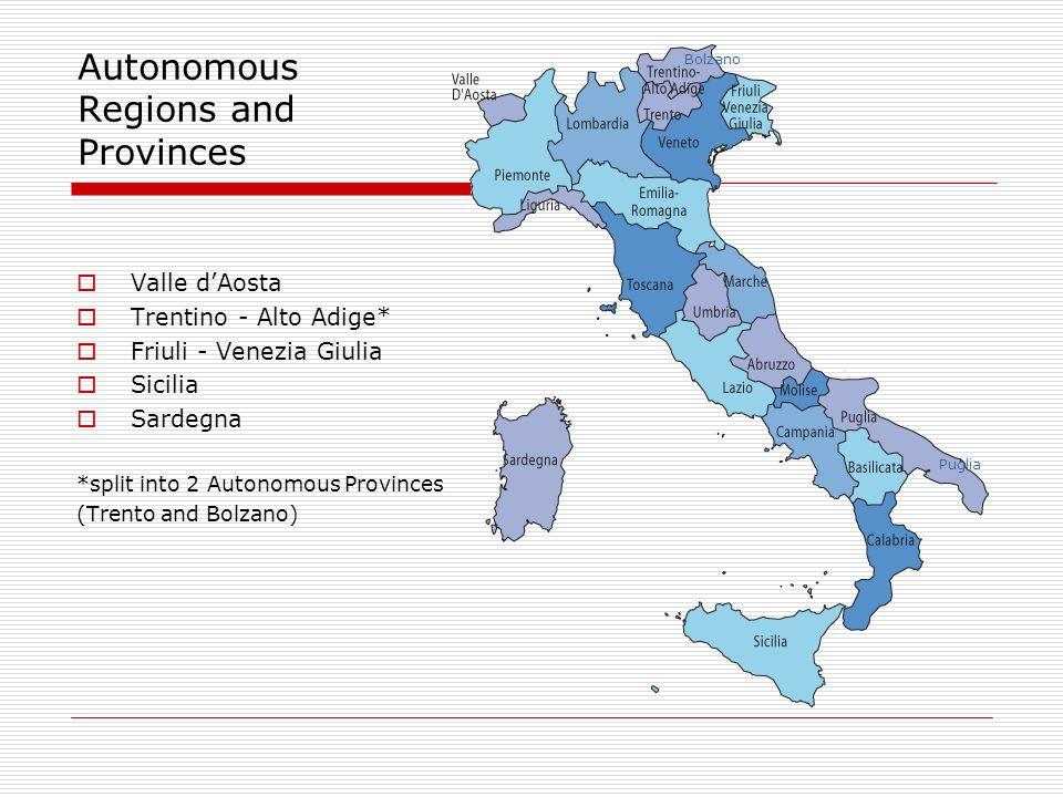 Autonomous Regions and Provinces Valle dAosta Trentino - Alto Adige* Friuli - Venezia Giulia Sicilia Sardegna *split into 2 Autonomous Provinces (Trento and Bolzano) Puglia Bolzano