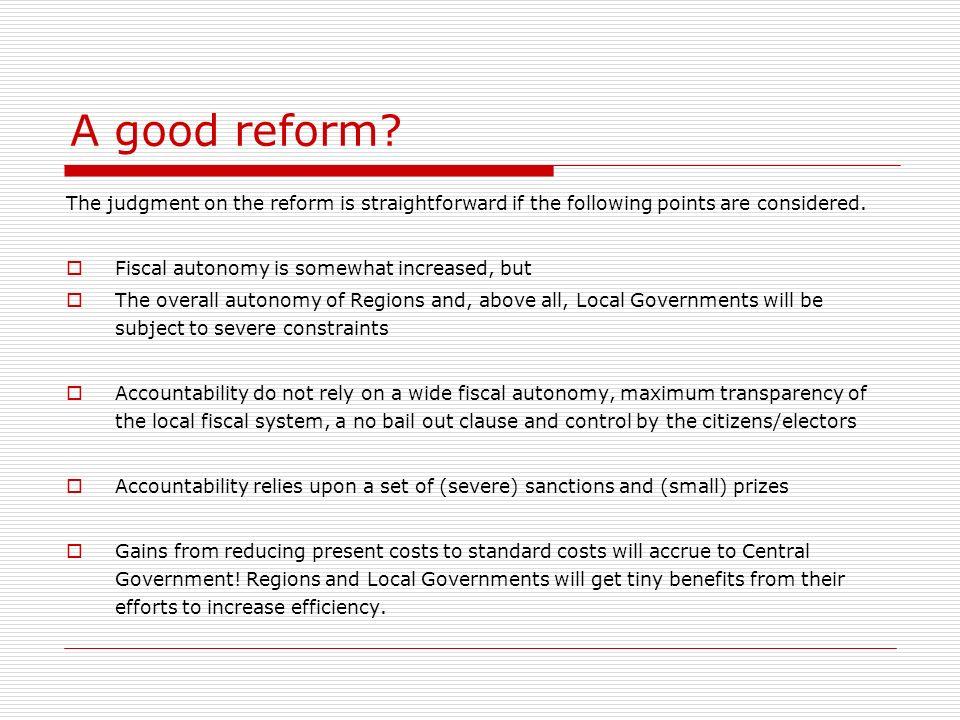 A good reform.