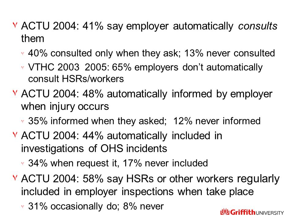 ٧ACTU 2004: 41% say employer automatically consults them ٧ 40% consulted only when they ask; 13% never consulted ٧ VTHC 2003 2005: 65% employers dont