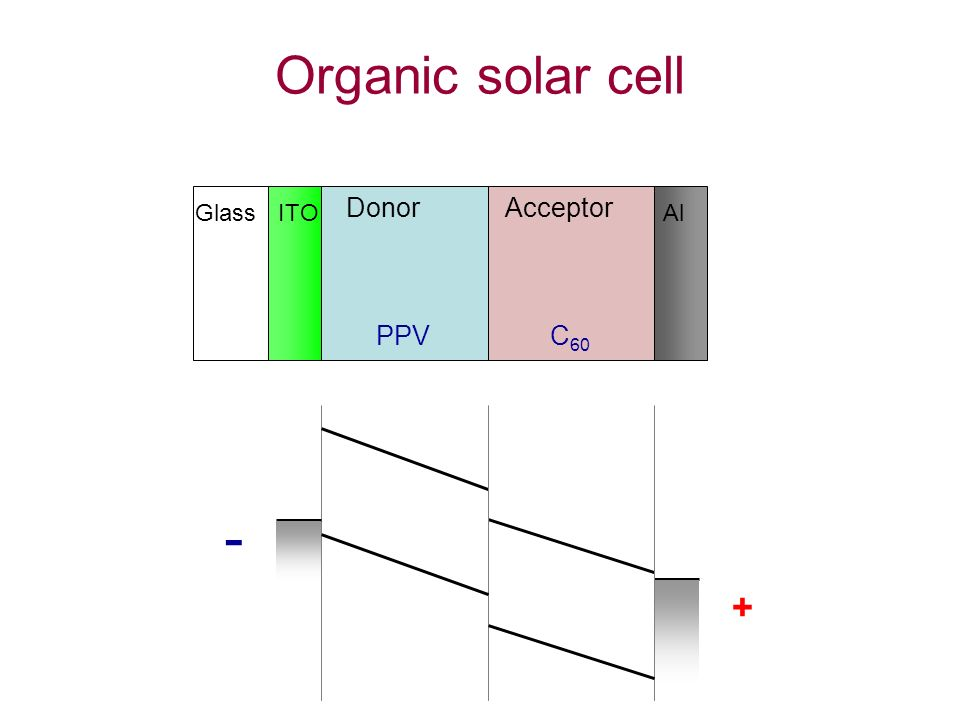C 60 PPV + - Glass ITO DonorAcceptor Al Organic solar cell