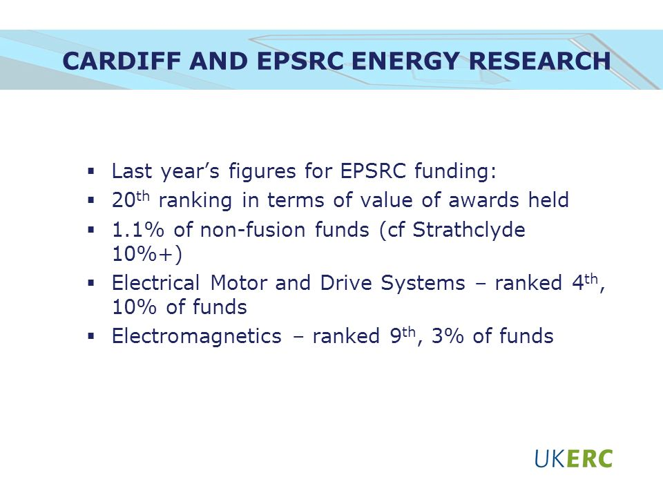 CARDIFF AND EPSRC ENERGY RESEARCH Last years figures for EPSRC funding: 20 th ranking in terms of value of awards held 1.1% of non-fusion funds (cf Strathclyde 10%+) Electrical Motor and Drive Systems – ranked 4 th, 10% of funds Electromagnetics – ranked 9 th, 3% of funds