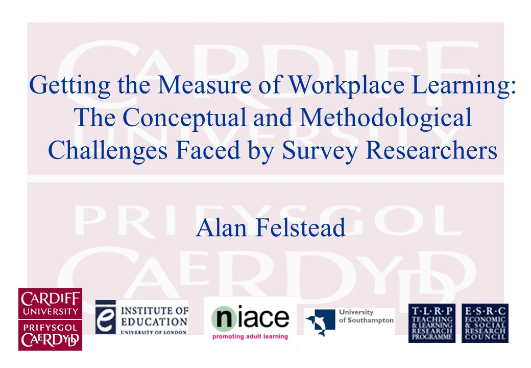 Getting the Measure of Workplace Learning: The Conceptual and Methodological Challenges Faced by Survey Researchers Alan Felstead