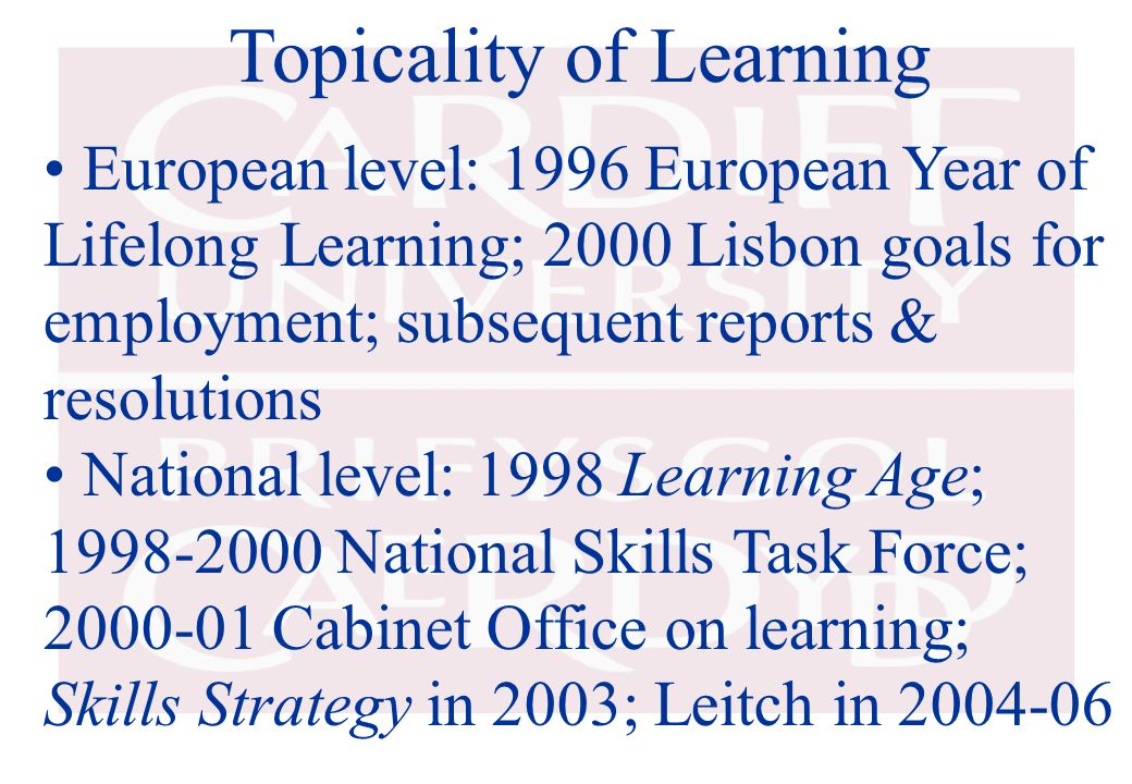 Topicality of Learning European level: 1996 European Year of Lifelong Learning; 2000 Lisbon goals for employment; subsequent reports & resolutions Nat