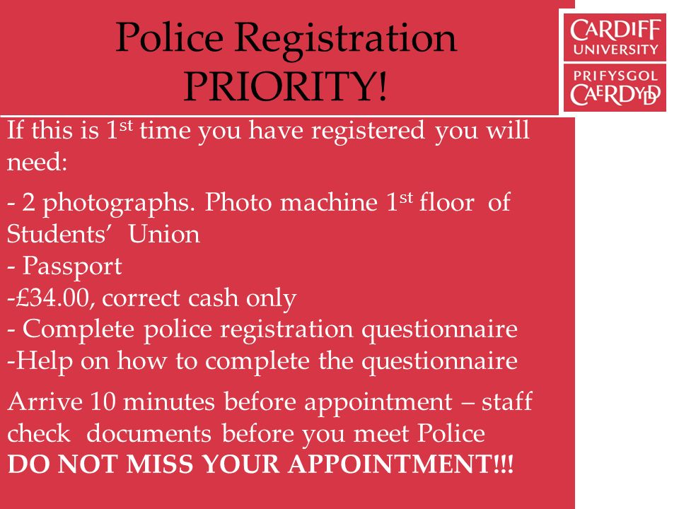 Police Registration PRIORITY.
