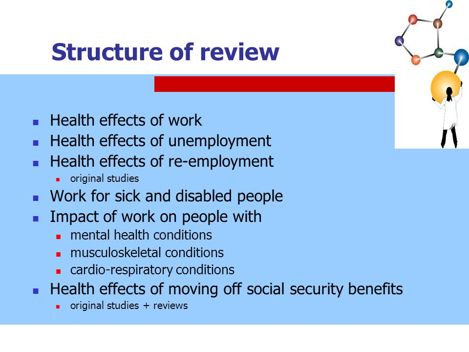 Structure of review Health effects of work Health effects of unemployment Health effects of re-employment original studies Work for sick and disabled