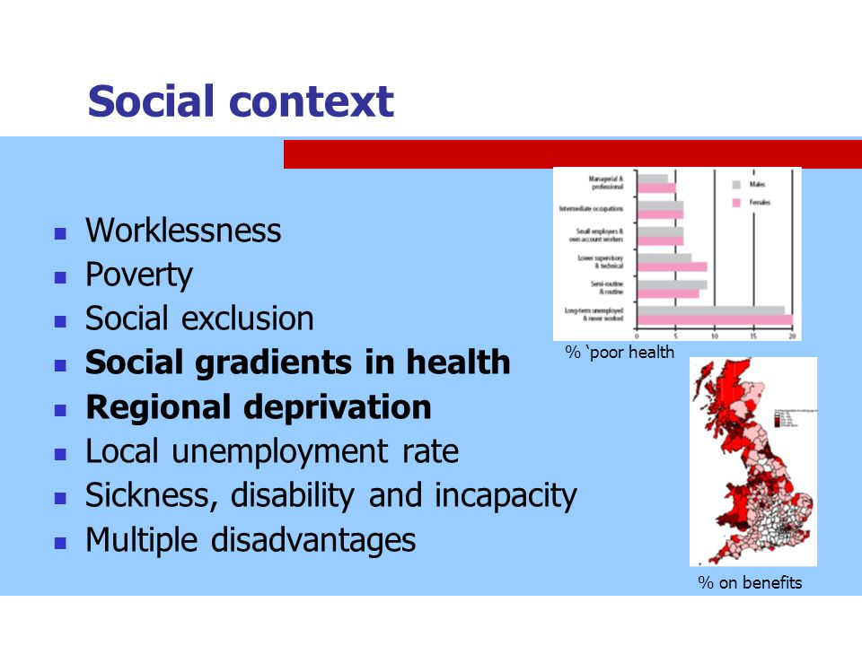Social context Worklessness Poverty Social exclusion Social gradients in health Regional deprivation Local unemployment rate Sickness, disability and