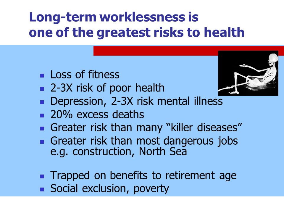 Long-term worklessness is one of the greatest risks to health Loss of fitness 2-3X risk of poor health Depression, 2-3X risk mental illness 20% excess