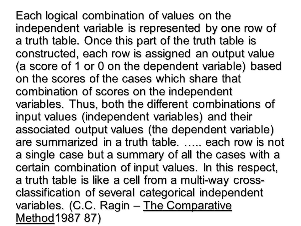 Each logical combination of values on the independent variable is represented by one row of a truth table.