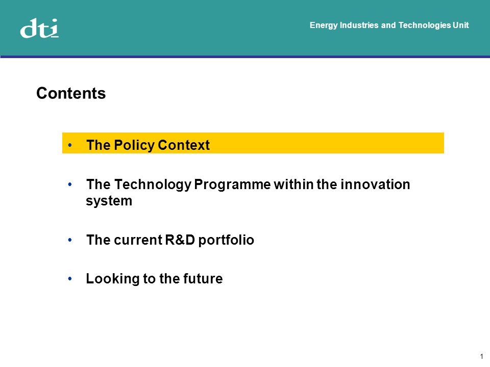 Energy Industries and Technologies Unit 2 Policy Goals To put ourselves on a path to cut the UK s carbon dioxide emissions by some 60% by about 2050, with real progress by 2020; To maintain the reliability of energy supplies (making sure the lights stay on); To promote competitive markets in the UK and beyond, helping to raise the rate of sustainable economic growth and to improve our productivity; and To ensure that every home is adequately and affordably heated.
