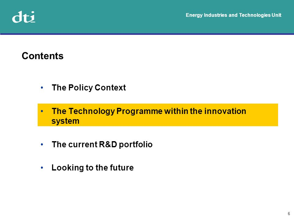 Energy Industries and Technologies Unit 7 Research councils programmes (e.g.
