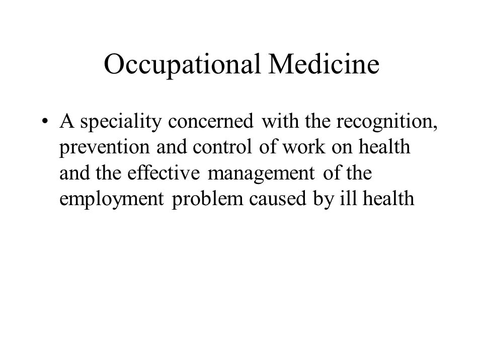 In Short: Effect of Work on Health: Occupational Disease etc Effect of (Ill) Health on Work: Fitness to Work