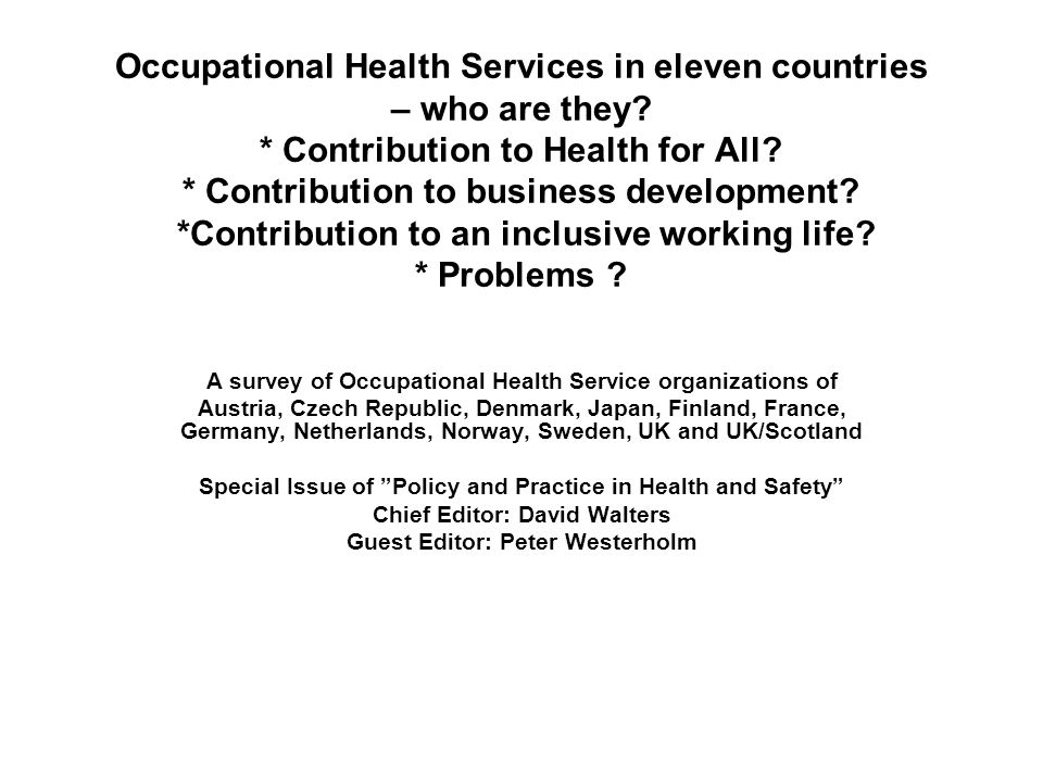 Occupational Health Services in eleven countries – who are they.
