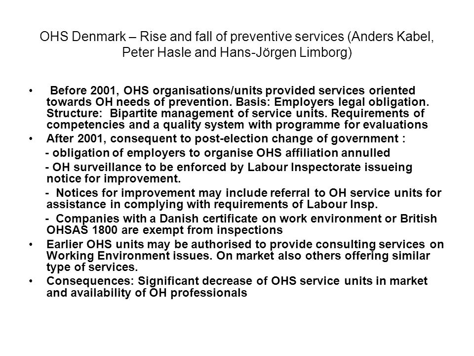 OHS Sweden - Example of OHS unit Programme Document - Chief Occup.