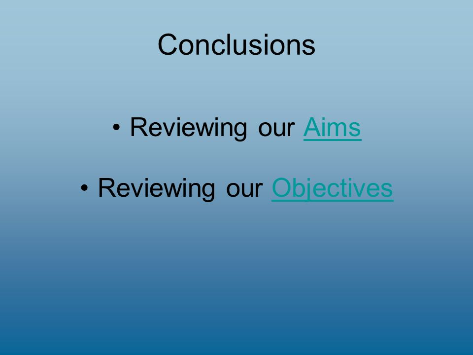 Conclusions Reviewing our AimsAims Reviewing our ObjectivesObjectives