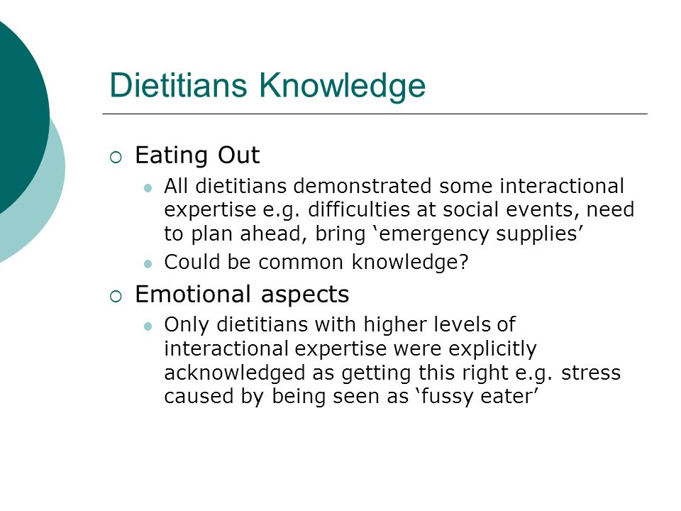 Dietitians Knowledge Eating Out All dietitians demonstrated some interactional expertise e.g.