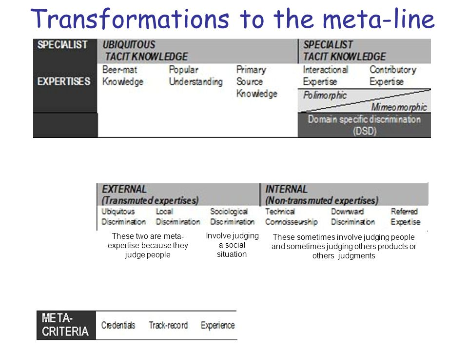 Transformations to the meta-line These two are meta- expertise because they judge people These sometimes involve judging people and sometimes judging others products or others judgments Involve judging a social situation