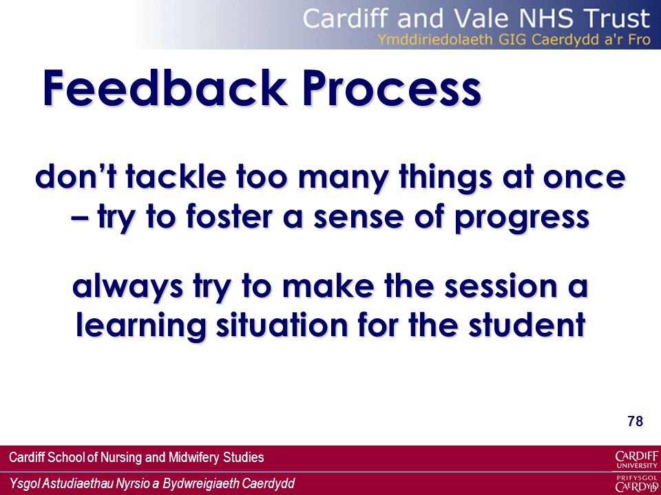 Cardiff School of Nursing and Midwifery Studies Ysgol Astudiaethau Nyrsio a Bydwreigiaeth Caerdydd 78 Feedback Process dont tackle too many things at once – try to foster a sense of progress always try to make the session a learning situation for the student