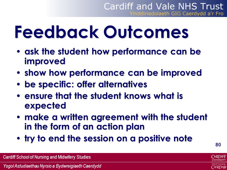 Cardiff School of Nursing and Midwifery Studies Ysgol Astudiaethau Nyrsio a Bydwreigiaeth Caerdydd 80 Feedback Outcomes ask the student how performanc