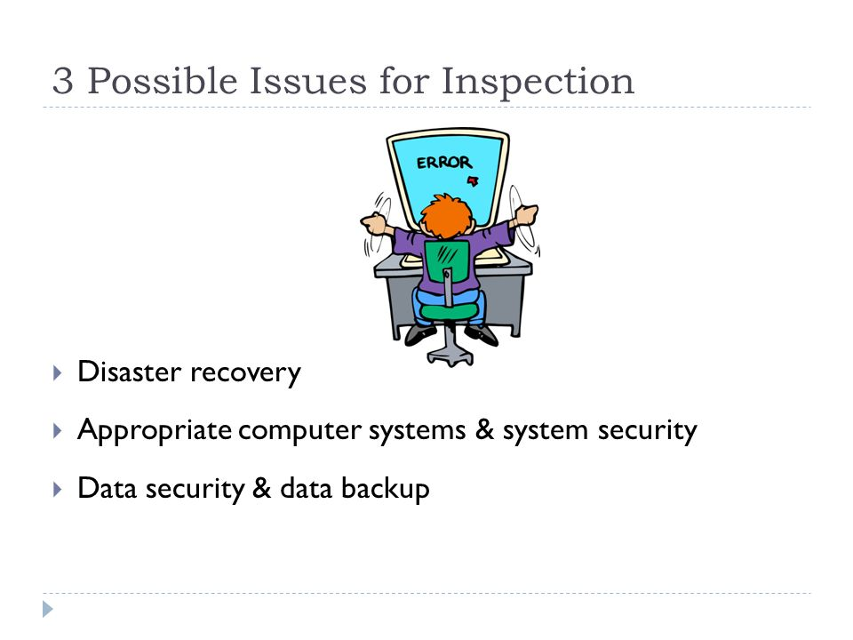 3 Possible Issues for Inspection Disaster recovery Appropriate computer systems & system security Data security & data backup